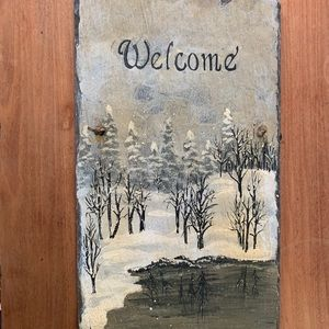 Slate Stone Welcome Sign